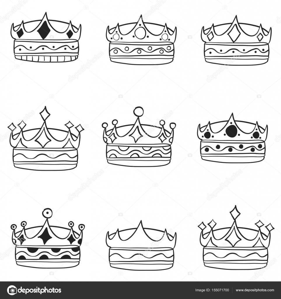 Imágenes Coronas Para Dibujar Conjunto De Corona Mano Dibujar