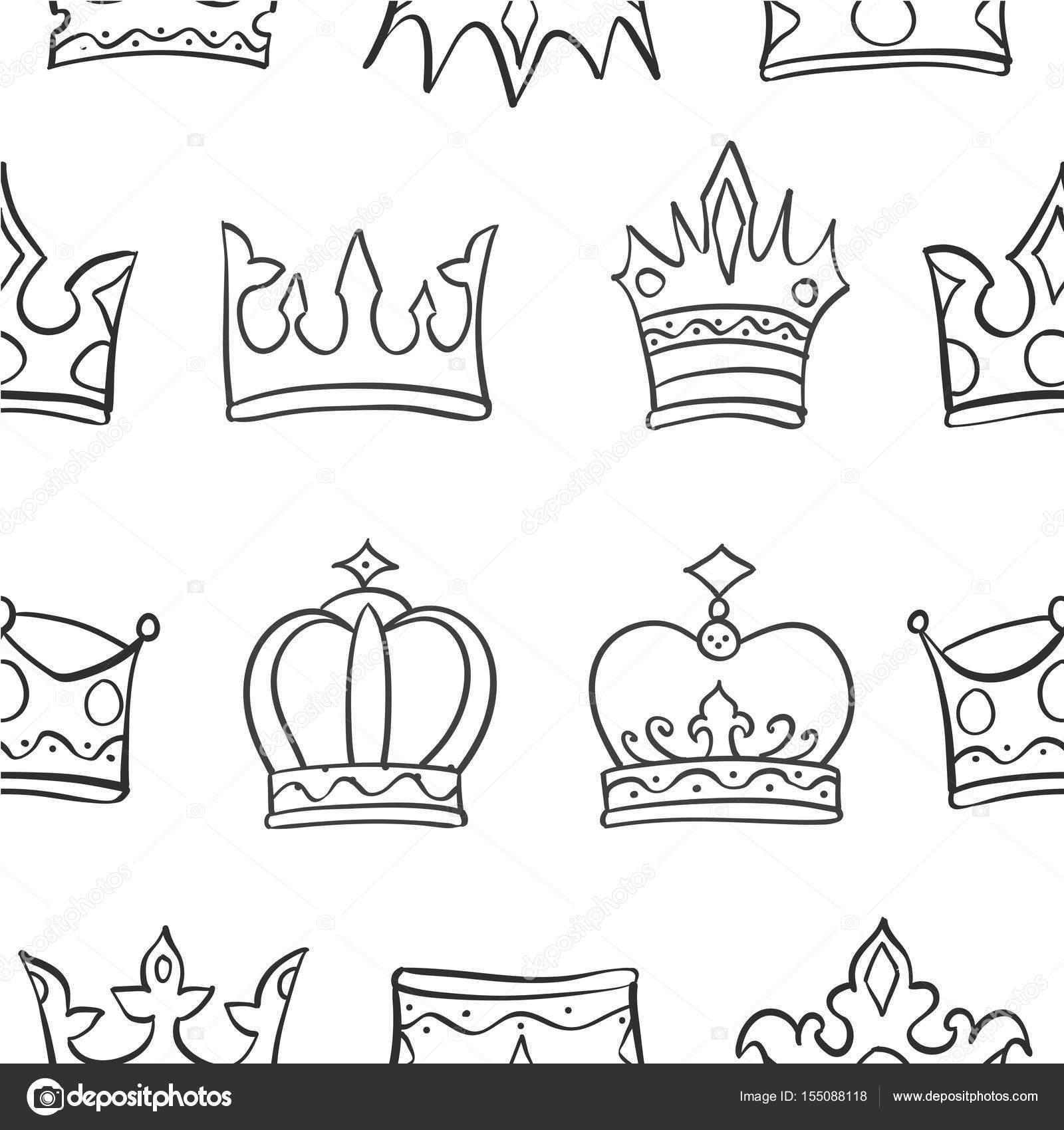 Imágenes Coronas Para Dibujar Patrón De Dibujo Vector Arte Corona