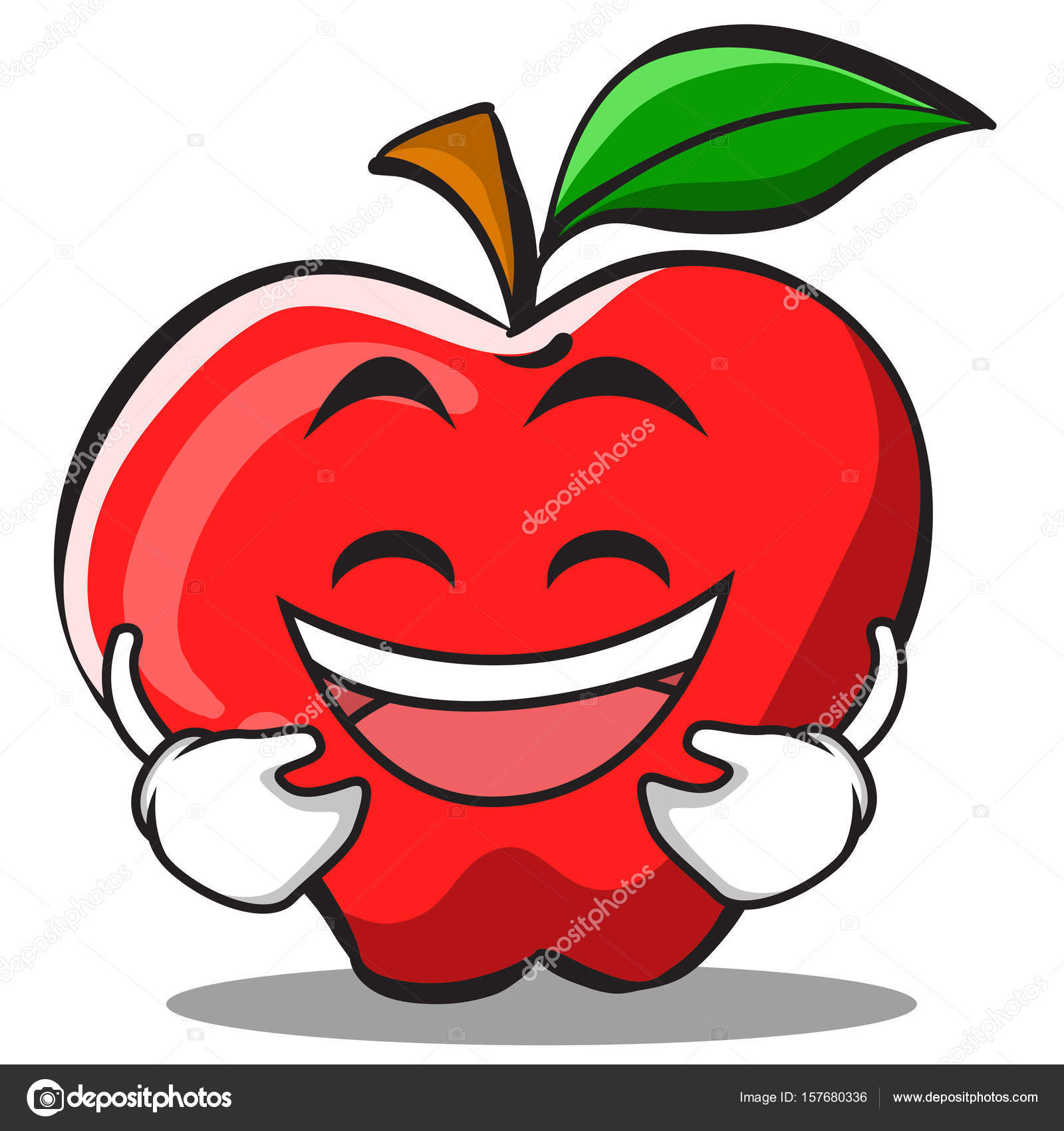Cartoon Character Design Price : Laughing apple cartoon character design — stock vector