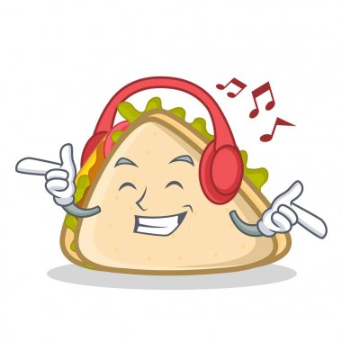 Listening music sandwich character cartoon style