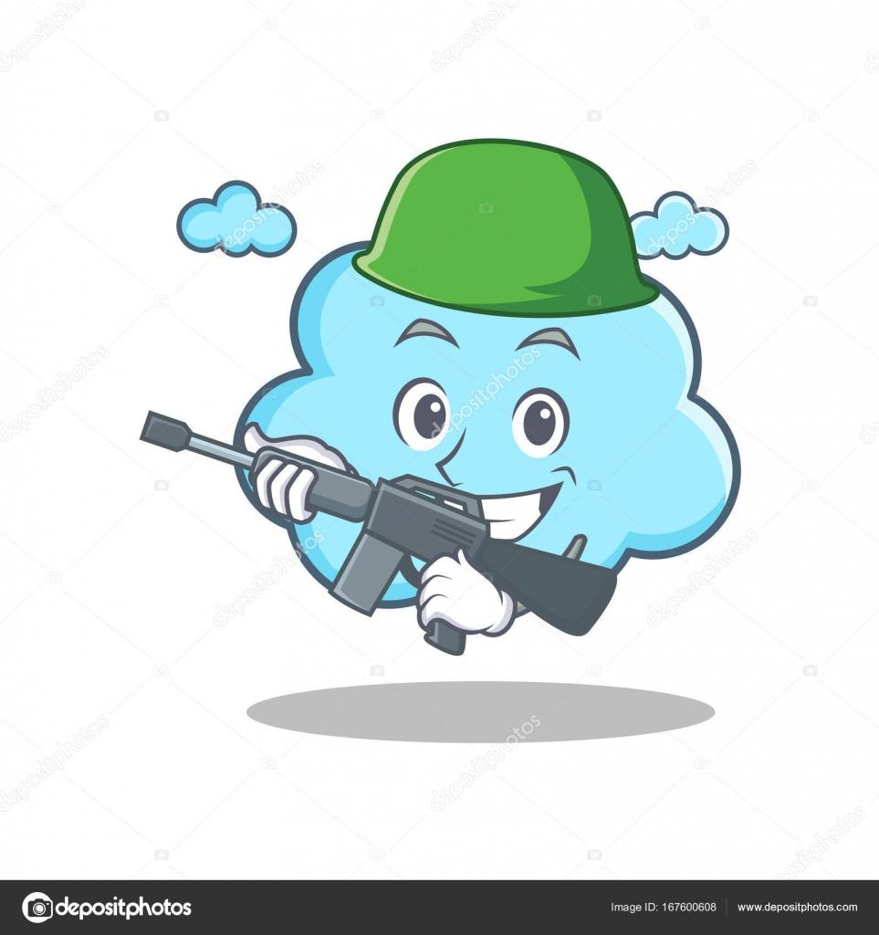 Dibujos de animados carácter Linda nube de ejército — Archivo ...