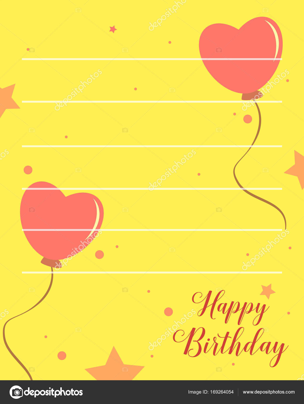 Happy Birthday Greeting Card With Yellow Background Stock Vector