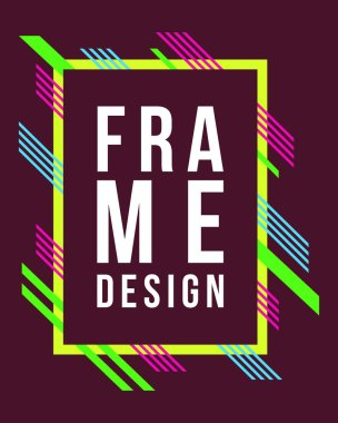 Vector frame Art graphics for hipsters invitation style