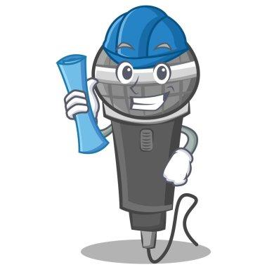 Architect microphone cartoon character design
