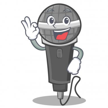 Okay microphone cartoon character design