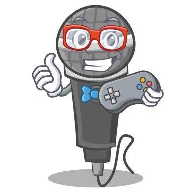 Gamer microphone cartoon character design