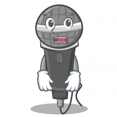 Afraid microphone cartoon character design