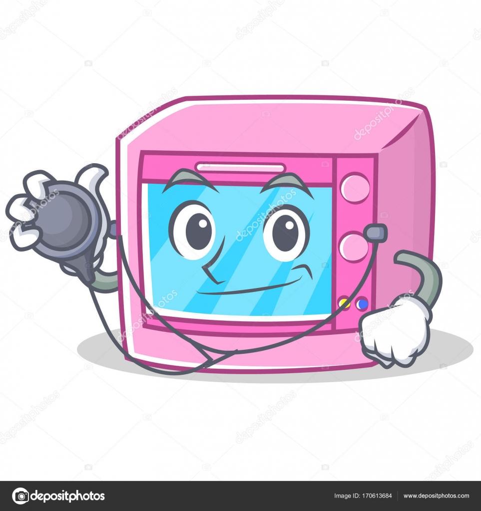 doctor oven microwave character cartoon stock vector kongvector