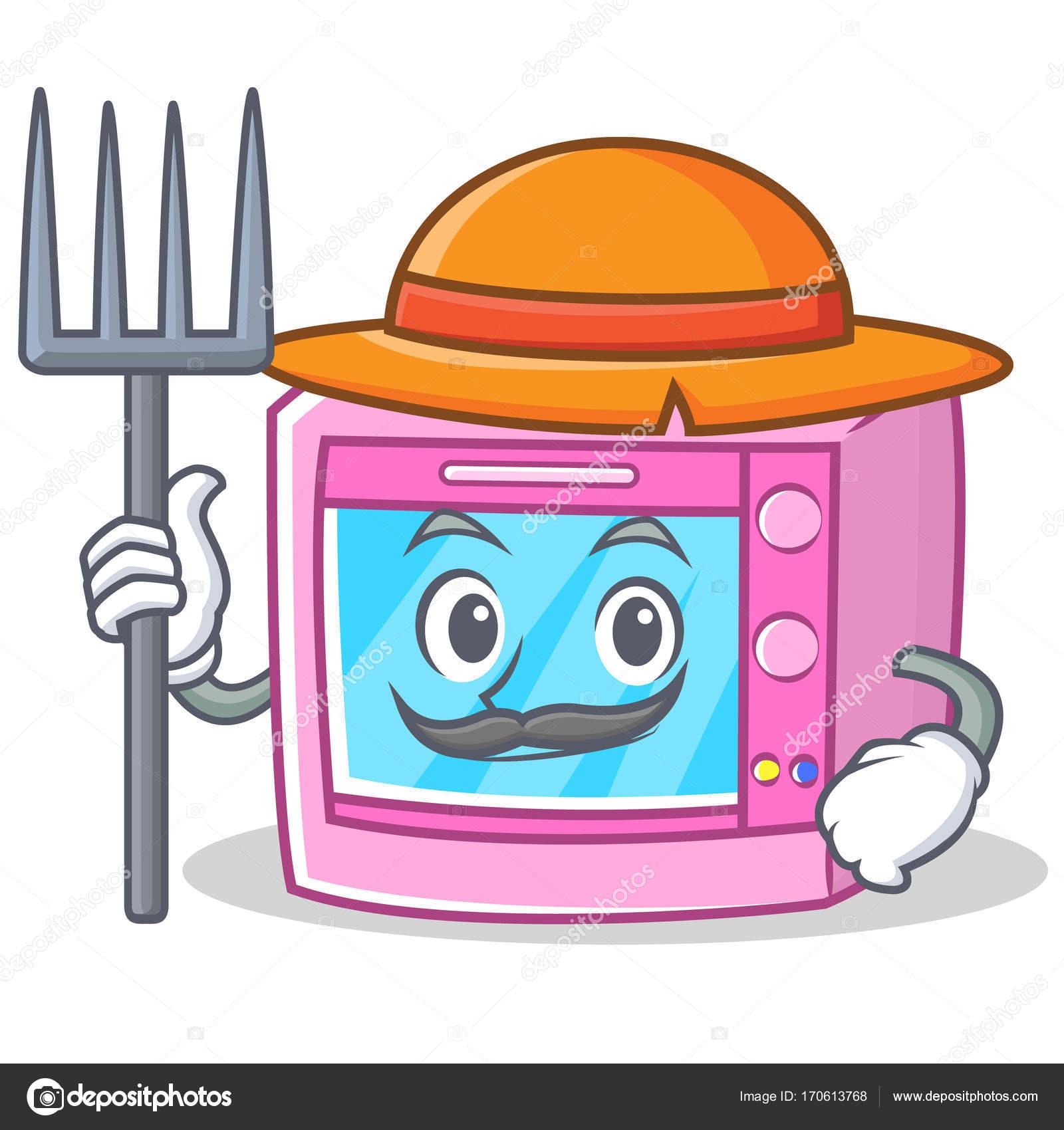 farmer oven microwave character cartoon stock vector kongvector