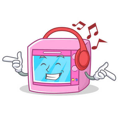 Listening music oven microwave character cartoon