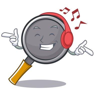 Listening music frying pan cartoon character