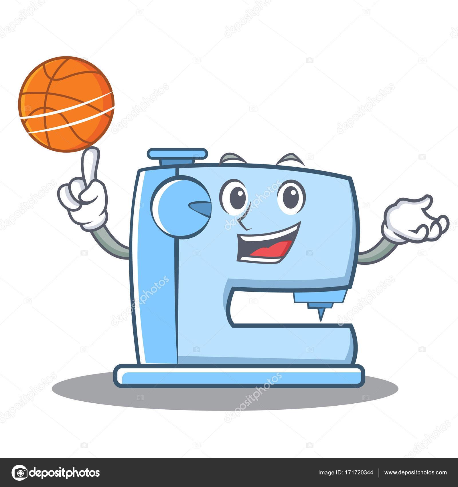 Carácter de emoticon de máquina de coser de baloncesto juego ...