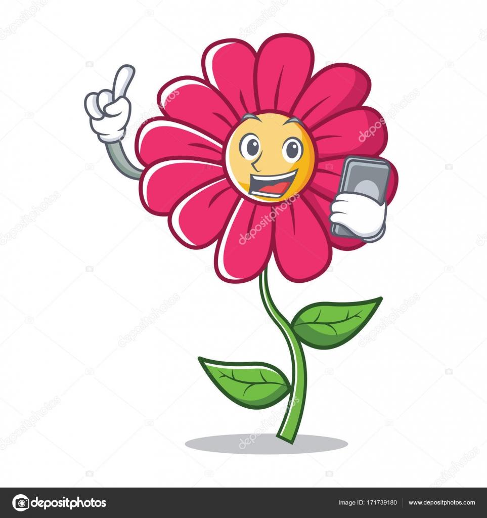 Avec dessin anim personnage de fleur rose t l phone image vectorielle kongvector 171739180 - Fleur rose dessin ...