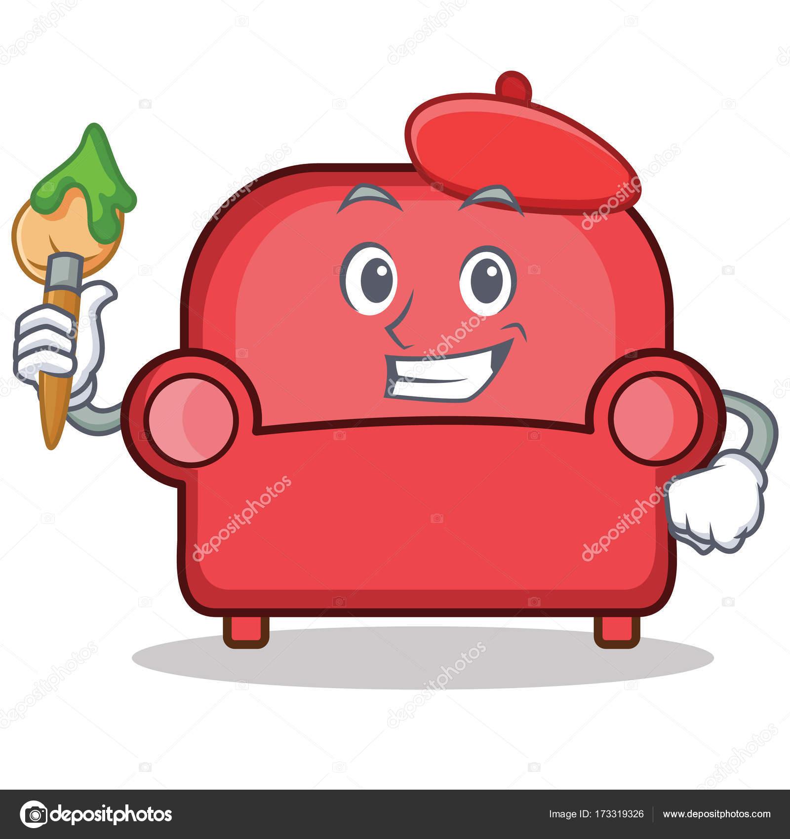 Animado Sofa Desenho Dibujos De Animados Carácter Sofá Rojo De