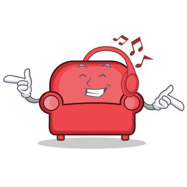 Listening music red sofa character cartoon