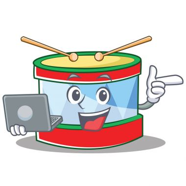 With laptop toy drum character cartoon