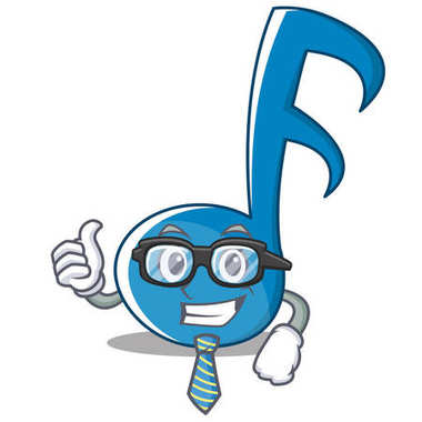 Businessman Music Note Character Cartoon