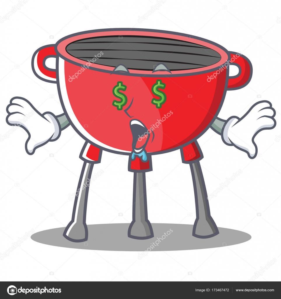 Dessin Barbecue personnage de dessin animé argent oeil barbecue grill — image