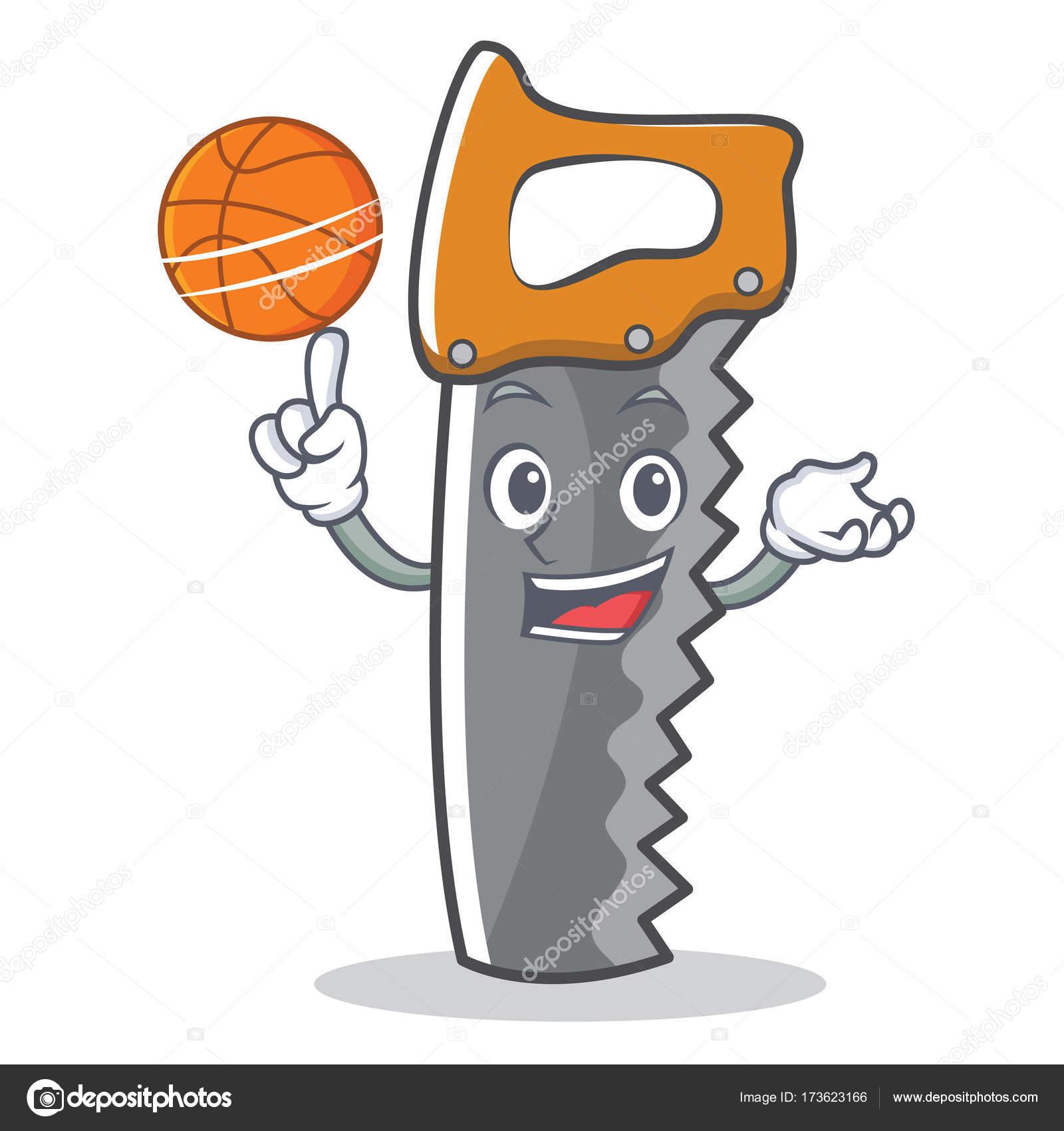 Con baloncesto Serrucho dibujos animados carácter — Vector de stock ...