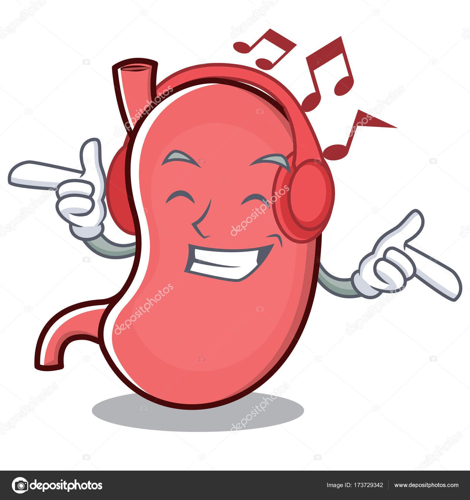 Escucha música estómago personaje de dibujos animados mascota ...