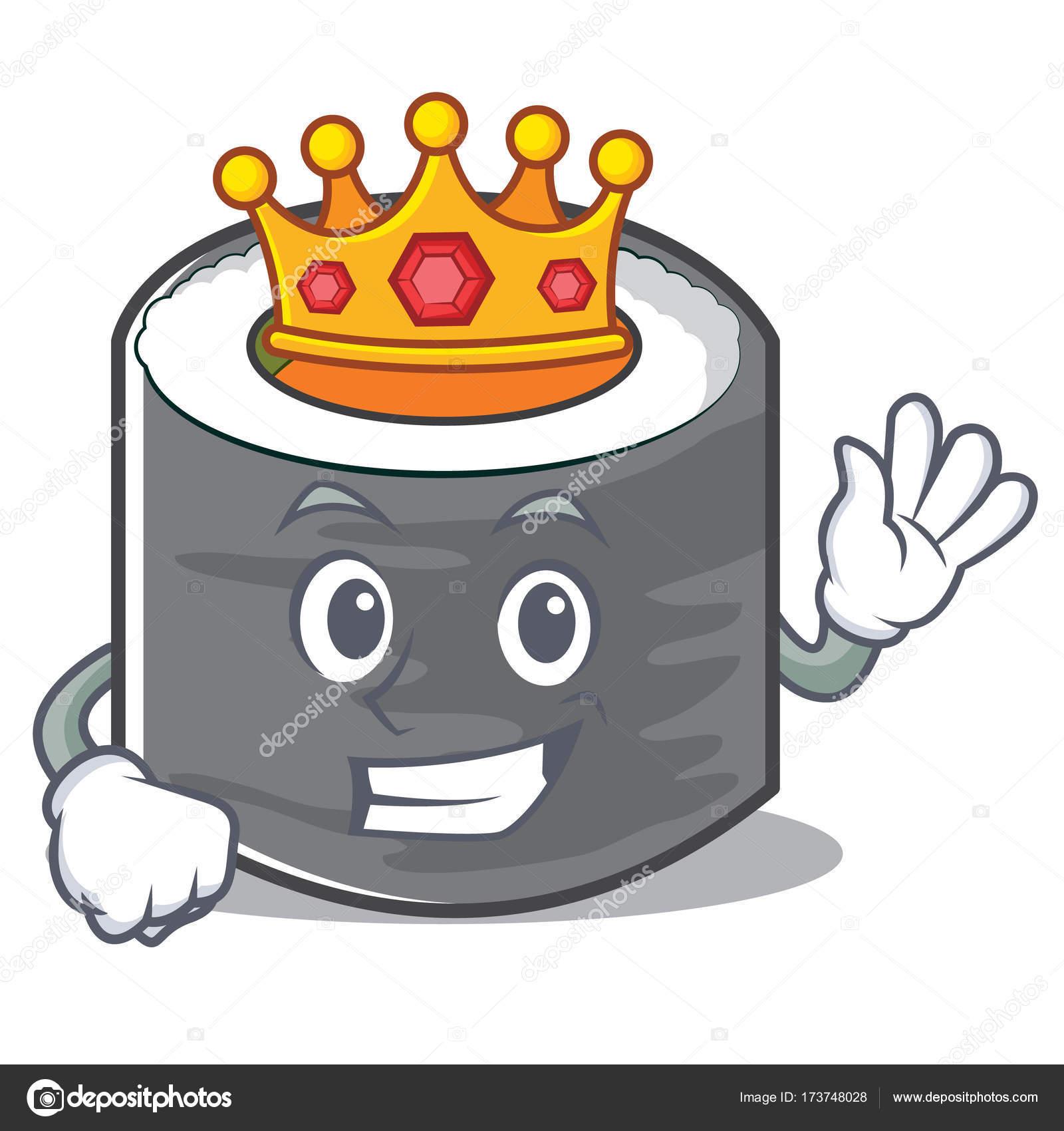King sushi cartoon character style Stock Vector kongvector