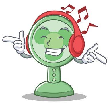 Listening music fan character cartoon style