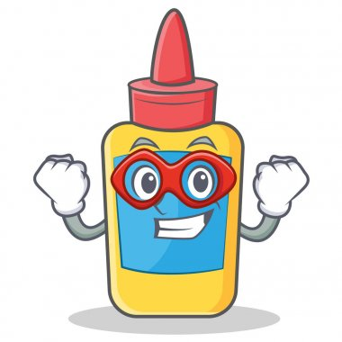 Super hero glue bottle character cartoon