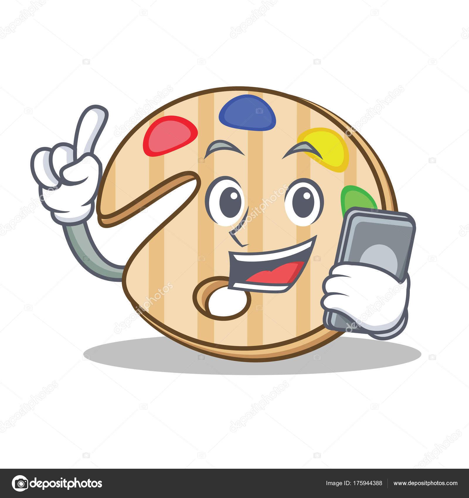 Telefon Boya Paleti Karakter Karikatür Ile Stok Vektör