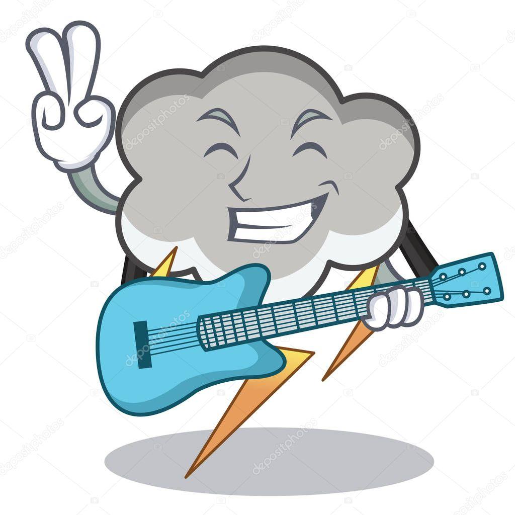 With guitar thunder cloud character cartoon