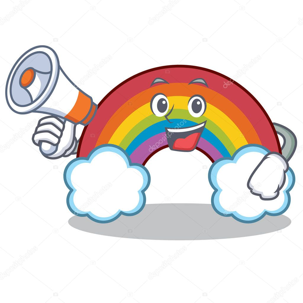 With megaphone colorful rainbow character cartoon