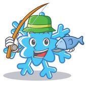 Fishing snowflake character cartoon style
