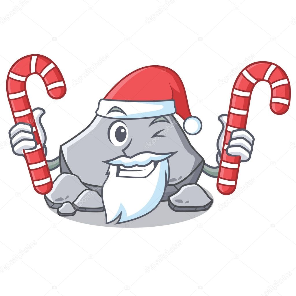 Santa with candy stone character cartoon style