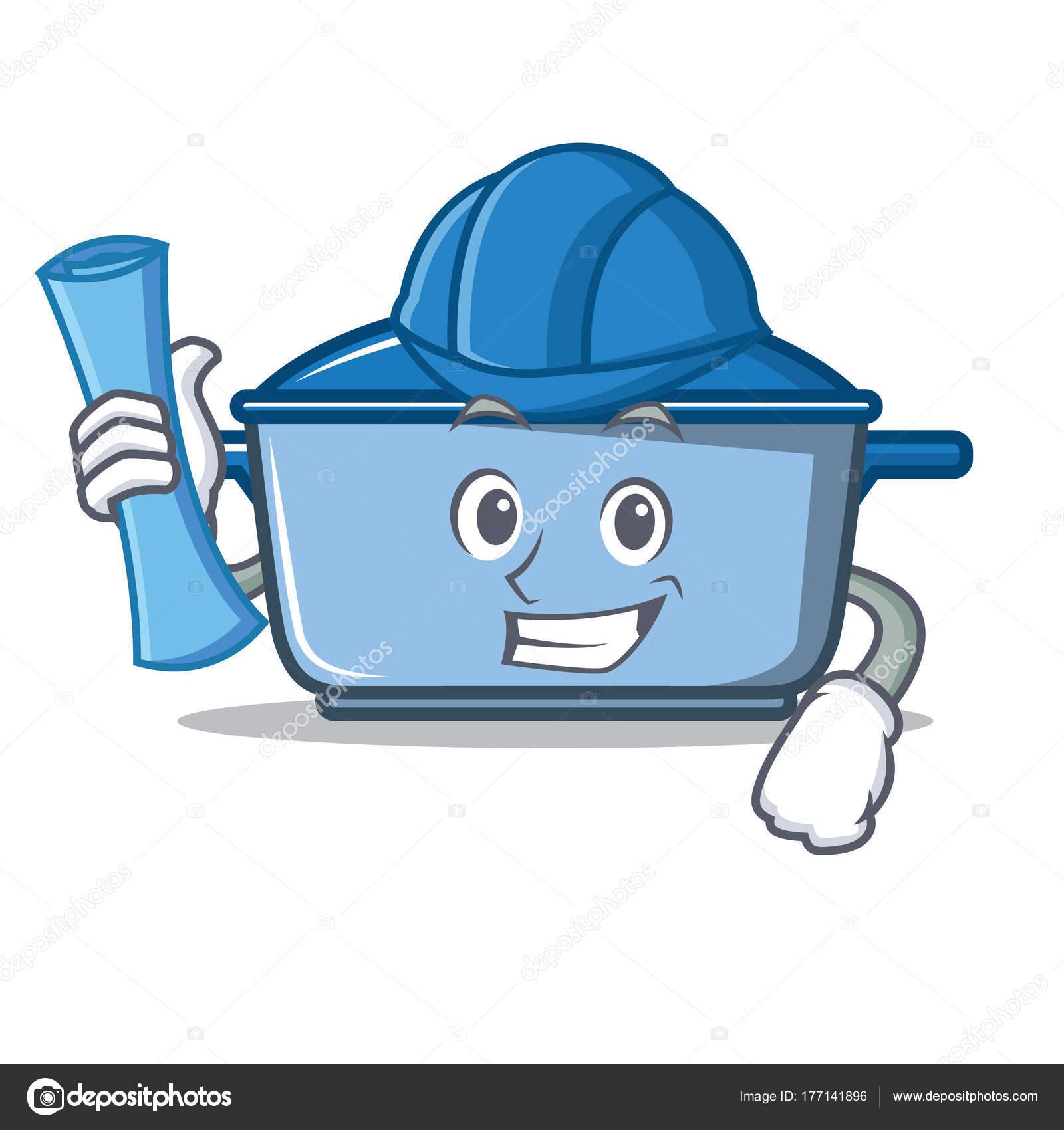 Architect kitchen character cartoon style — Stock Vector ...