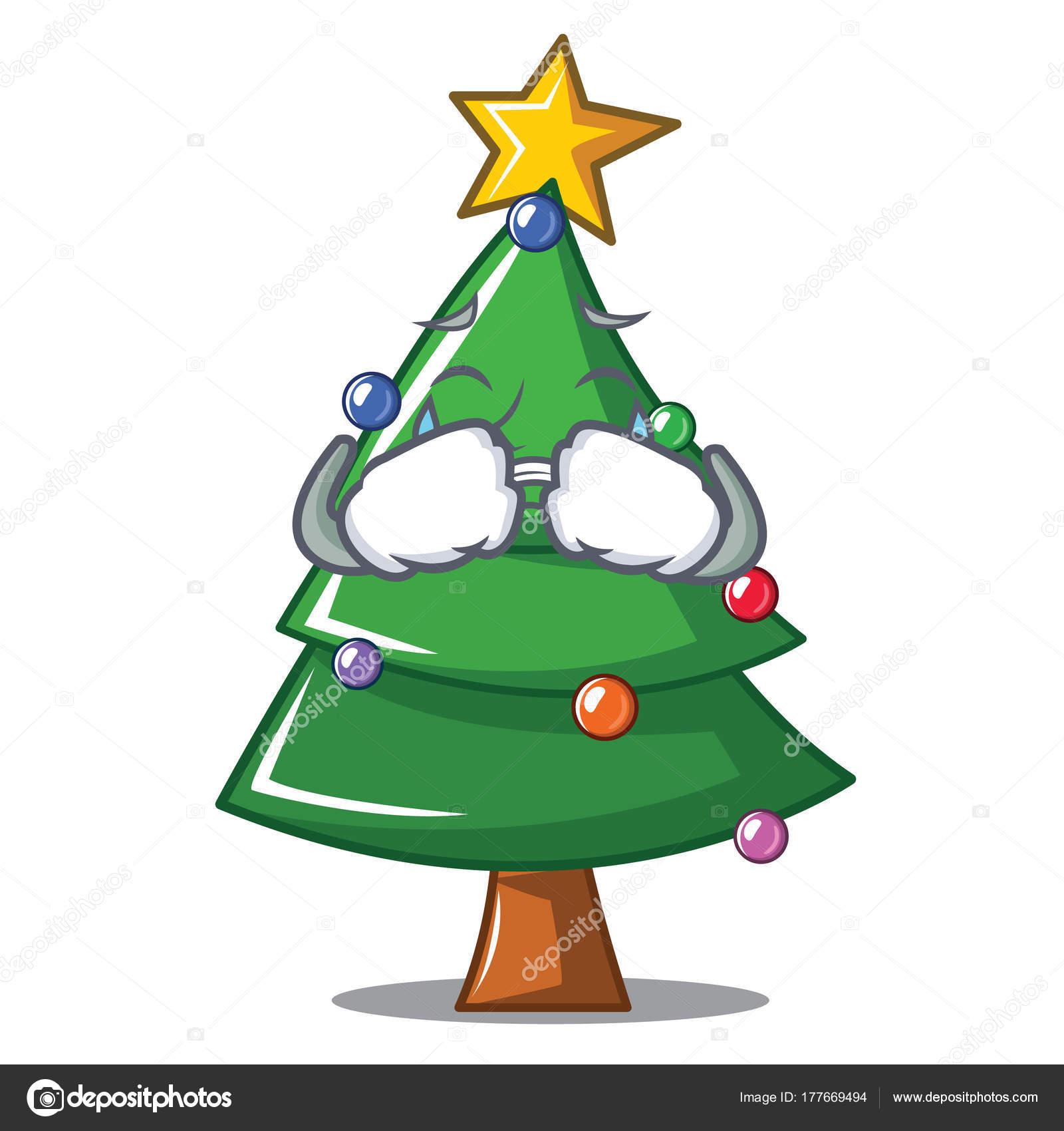 Crying Christmas tree character cartoon — Stock Vector © kongvector ...