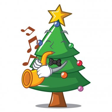 With trumpet Christmas tree character cartoon