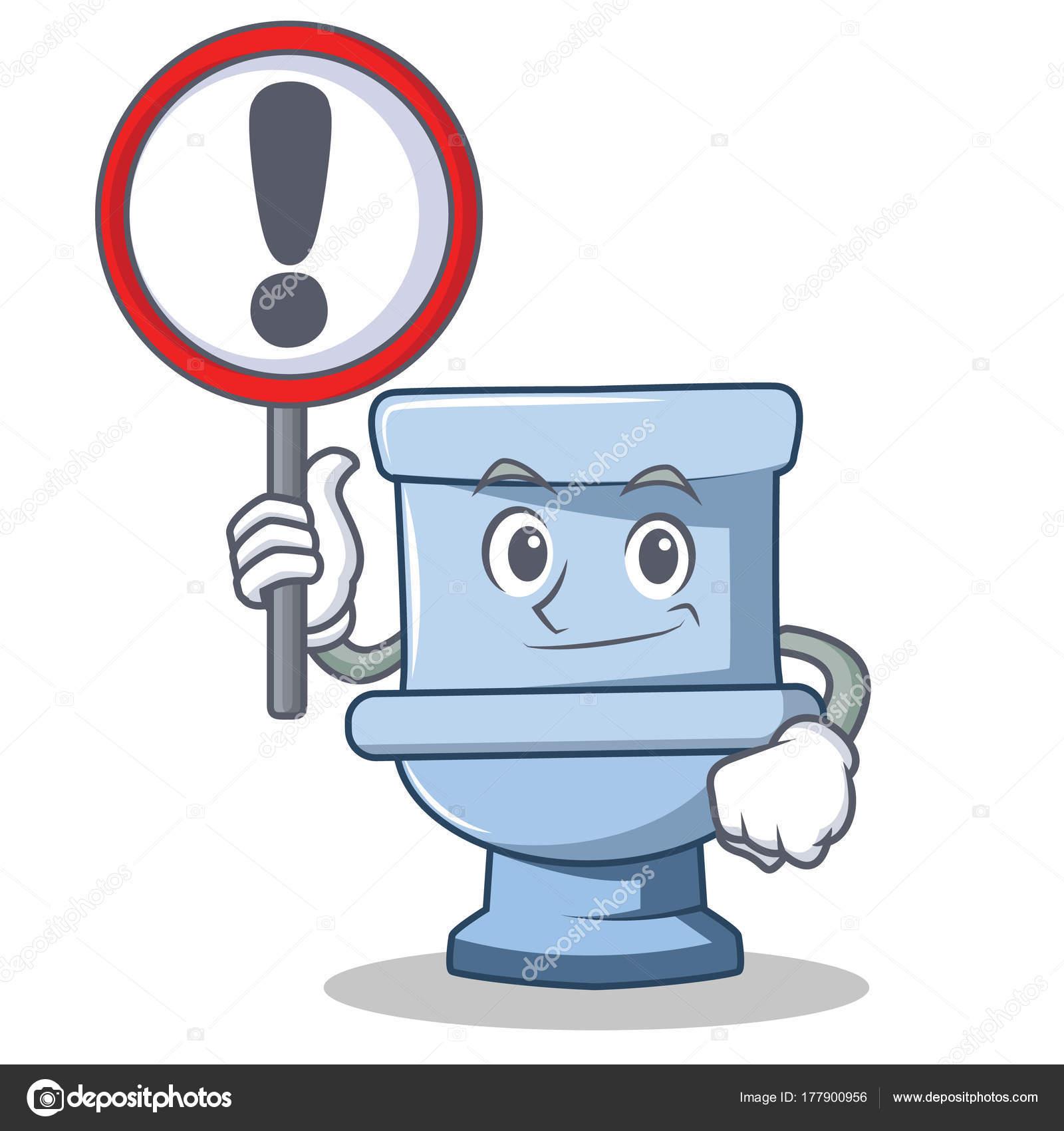 Dessin Wc avec le style de dessin animé caractère signe toilette — image