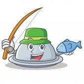 Rybářské zásobník charakter kreslený styl