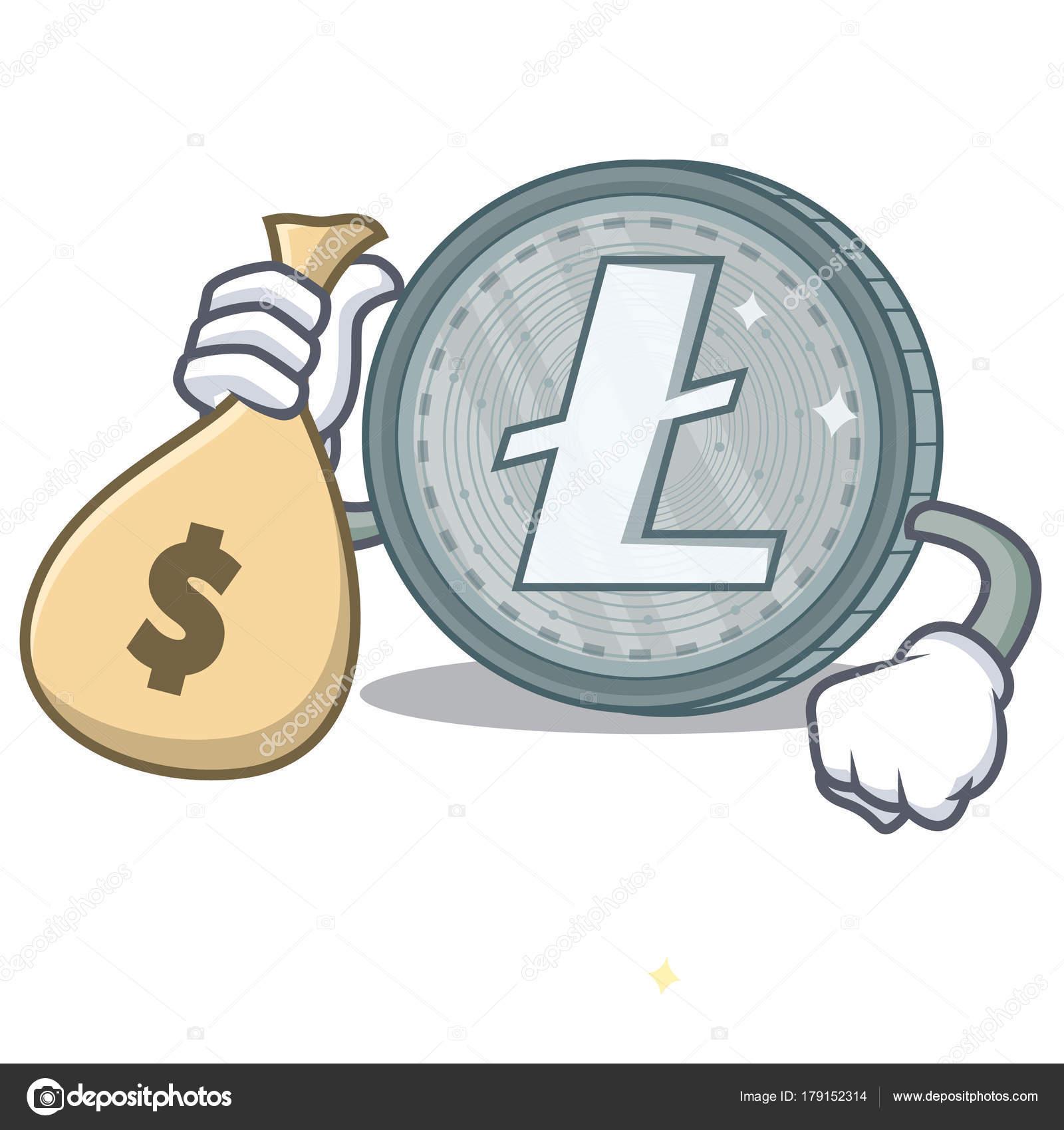 Dinero Animados Litecoin Con Carácter Dibujos De Estilo Bolsa wOkXPiZulT
