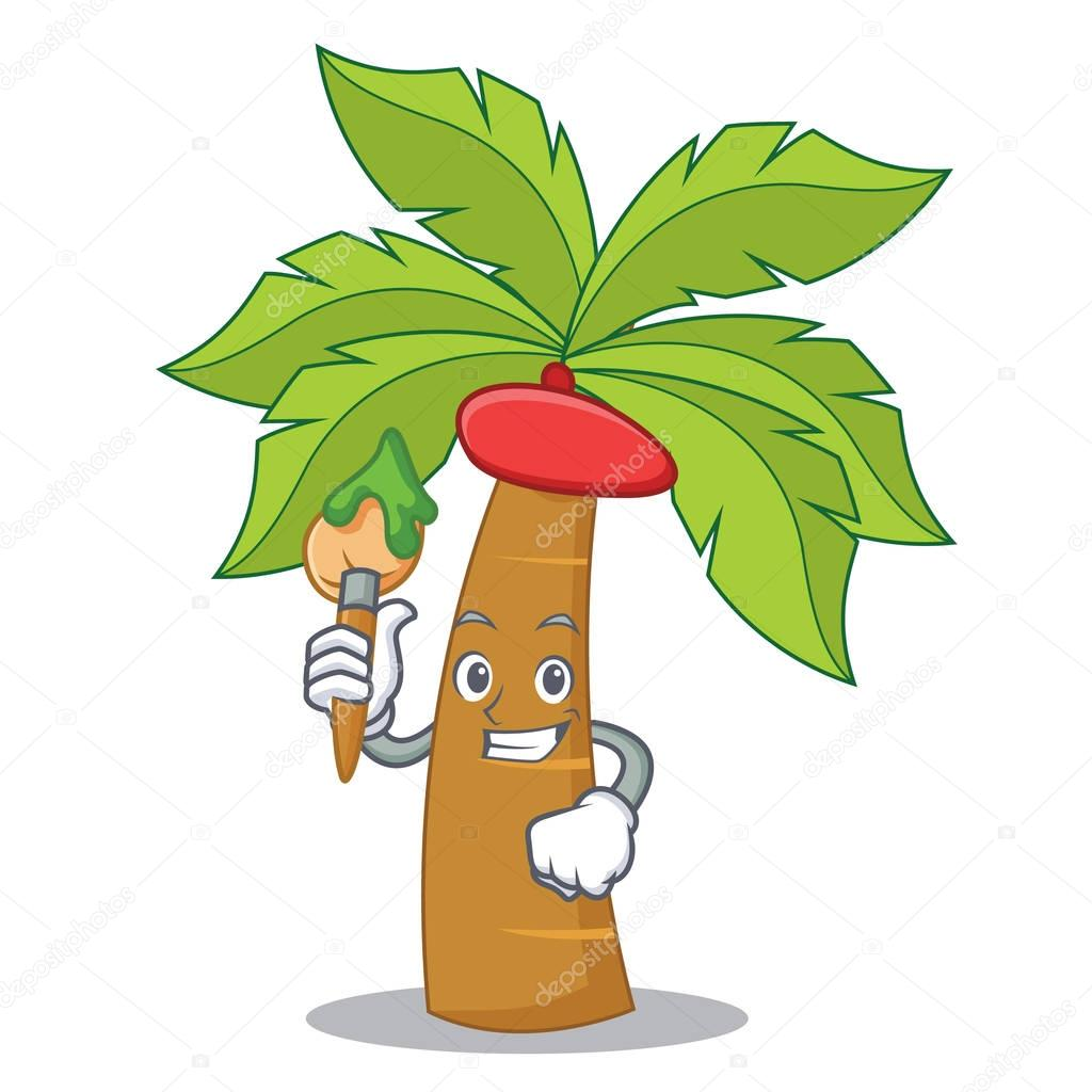 Artist palm tree character cartoon
