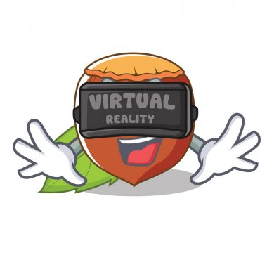 With virtual reality hazelnut mascot cartoon style