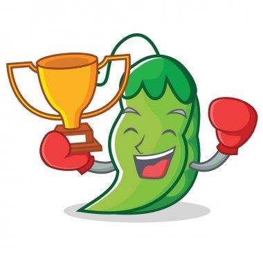 Boxing winner peas mascot cartoon style