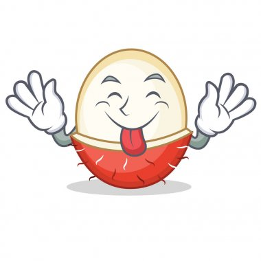 Tongue out rambutan mascot cartoon style