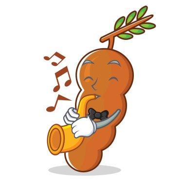 With trumpet tamarind mascot cartoon style