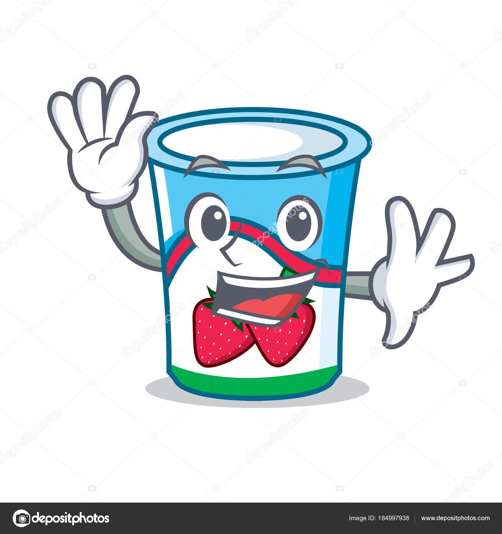 waving yogurt character cartoon style � stock vector