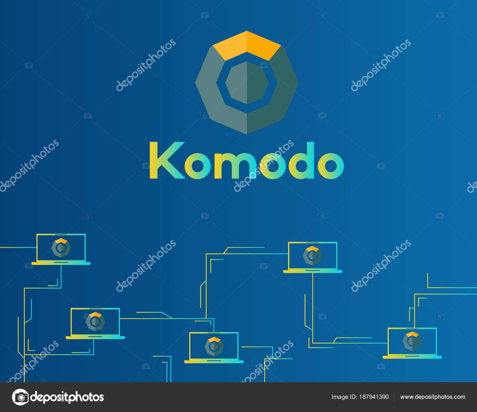 Blockchain Komodo Symbol Schaltung Hintergrund — Stockvektor ...