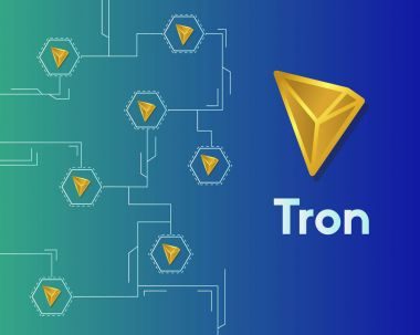 Cryptocurrency tron blockchain circuit networking background