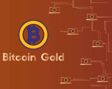 Bitcoin gold cryptocurrency circuit concept background