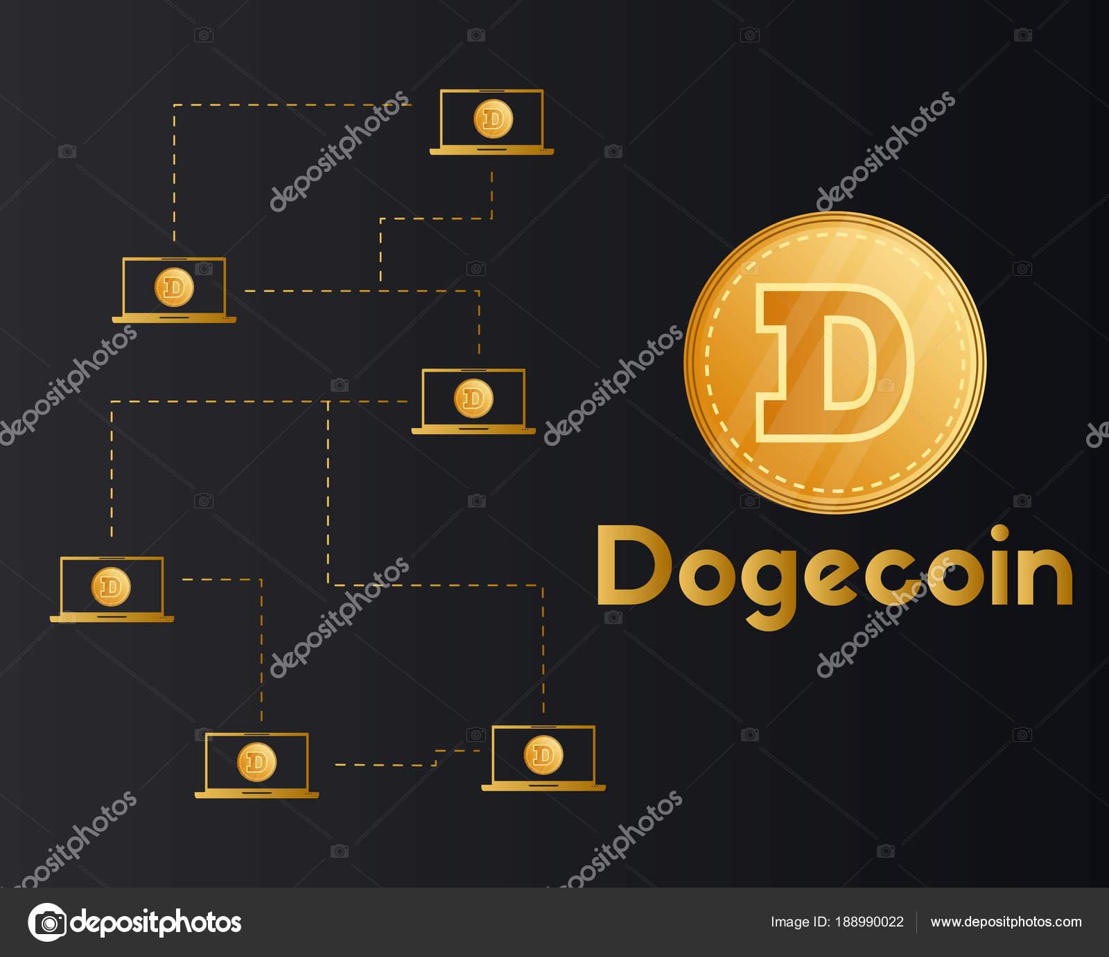 Dogecoin blockchain technology style background — Stock