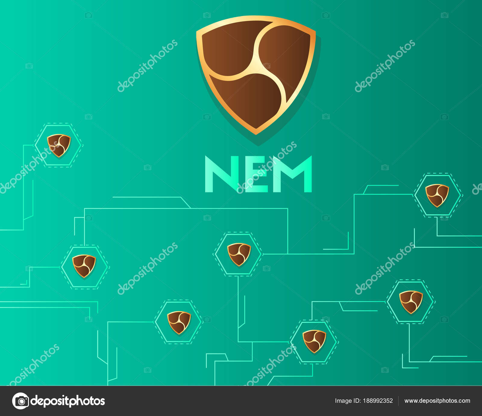 Circuito Virtual : Cryptocurrency nem blockchain fondo de circuito virtual u archivo