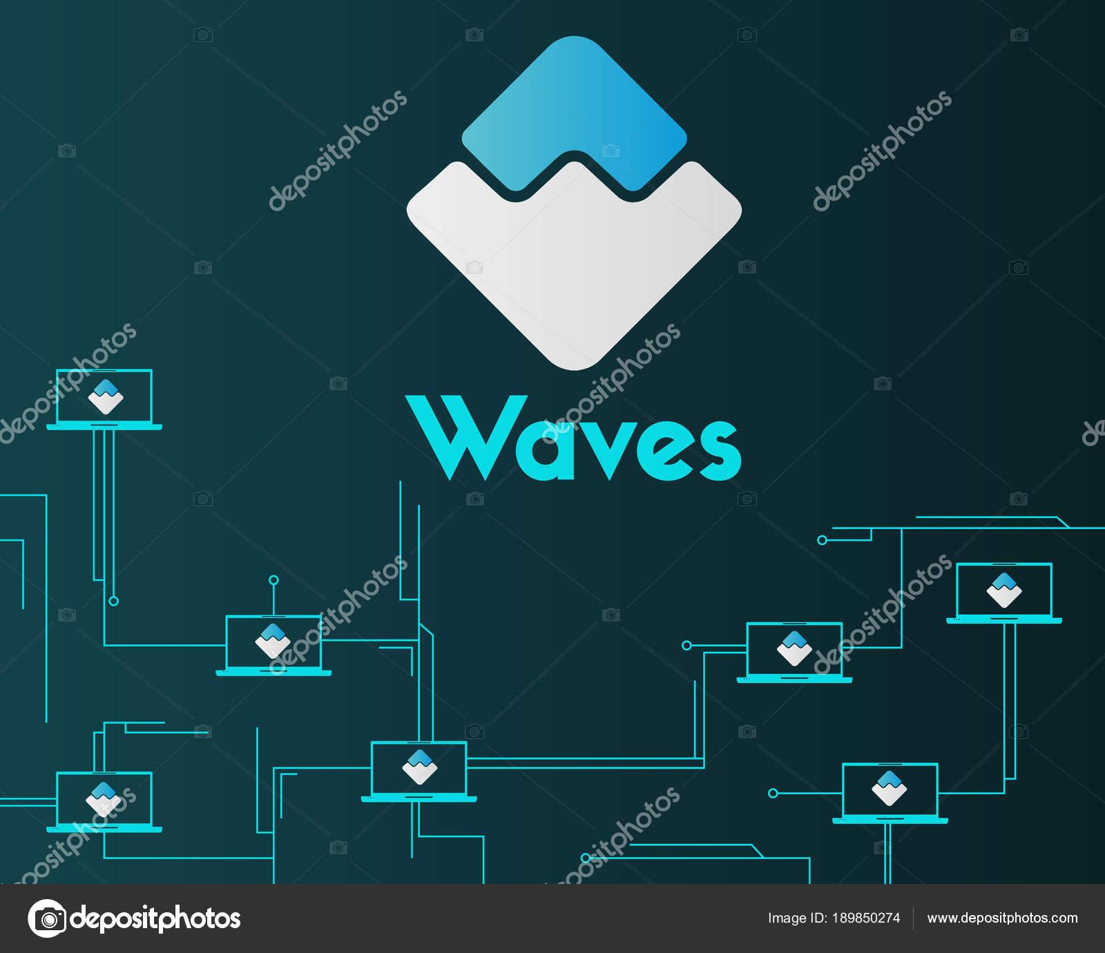 Circuito Virtual : Olas blockchain circuito virtual estilo fondo u archivo imágenes